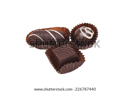 gourmet chocolate bonbons isolated on white background - stock photo