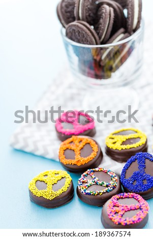 Gourmet Chocolate covered Oreos with colorful sprinkles on top. - stock photo