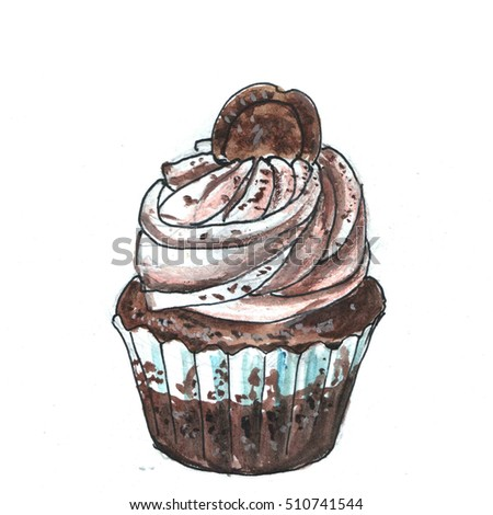 Gourmet chocolate cupcakes with chocolate cookies. Drawn watercolor and felt-tip penny.