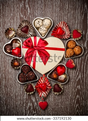 Gourmet chocolates for Valentine's Day - stock photo