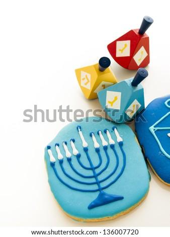 Gourmet cookies decorated for Hanukkah. - stock photo