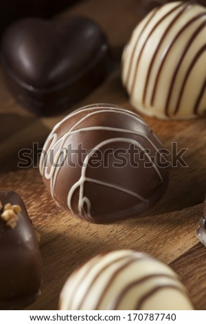 Gourmet Fancy Dark Chocolate Truffle Candy for Dessert - stock photo