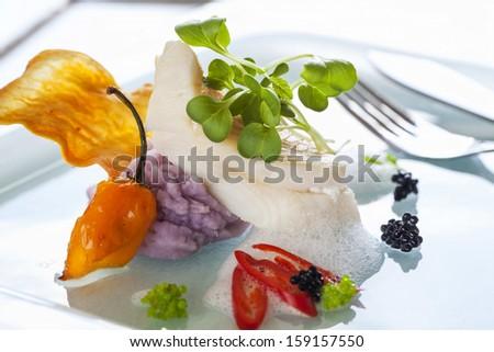 Gourmet fish dish - stock photo