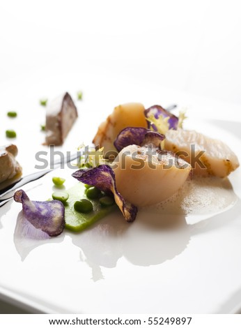 gourmet food on white plate for a birthday or other holiday meal - stock photo
