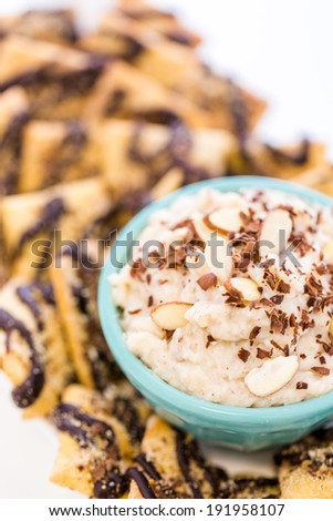 Gourmet gluten free cannoli chips and dip.