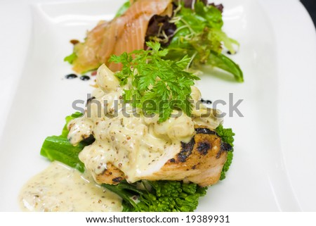 Gourmet Grilled Chicken and Cured Salmon Plate