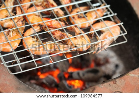 Gourmet Grilled shrimp with original stove between picnic.