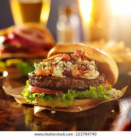 gourmet hamburger with bleu cheese and bacon - stock photo