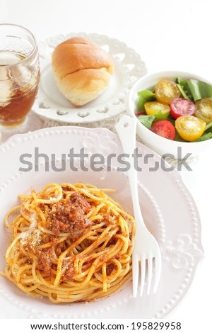 Gourmet Italian, Bolognese Meat sauce pasta with salad and bread