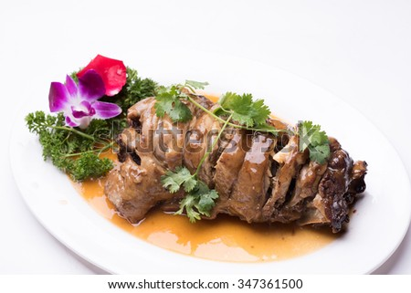 Gourmet lamb isolated on white background - stock photo