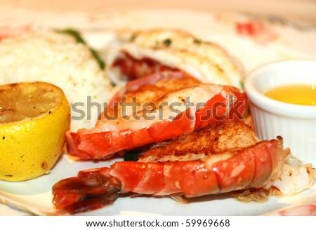Gourmet lobster dinner at the restaurant - stock photo