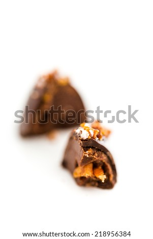 Gourmet maple bacon truffle on a white background.