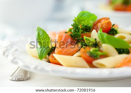 Gourmet pasta salad with smoked salmon - stock photo