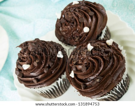 Gourmet quadruple chocolate cupcakes on white plate.