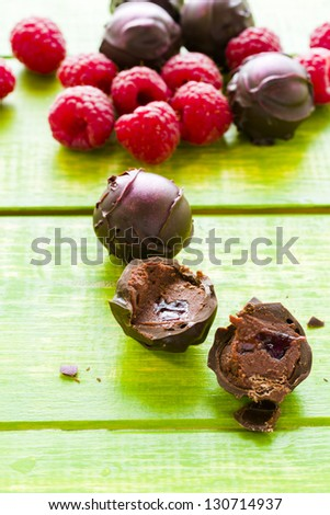 Gourmet raspberry truffles hand made by chocolatier.