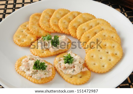 Gourmet smoked salmon spread on crackers