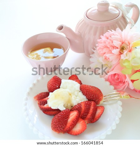 Gourmet spring dessert, Japanese strawberry and yogurt with lemon tea