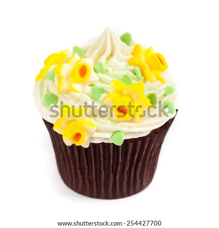 Gourmet Spring Easter Cupcakes on a white background. Selective focus. - stock photo