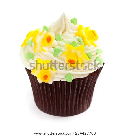Gourmet Spring Easter Cupcakes on a white background. Selective focus.