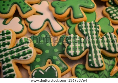 Gourmet St. Patrick's Day cookies. - stock photo