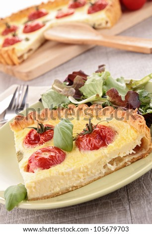 gourmet tomato quiche and basil