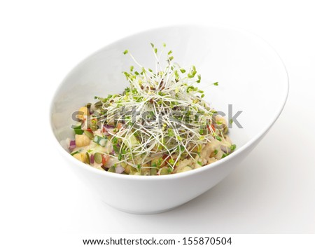 Gourmet vegan meal topped with sprouts - stock photo