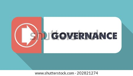 Governance Concept in Flat Design with Long Shadows on Blue Backgrounds. - stock photo