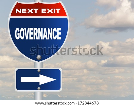 Governance road sign - stock photo