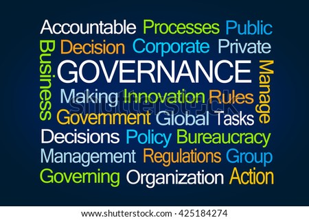 Governance Word Cloud on Blue Background - stock photo