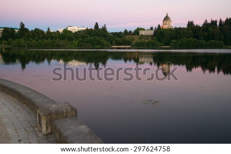 Government Building Capital Lake Olympia Washington Sunset Dusk - stock photo