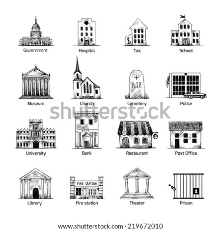Government building icons set in hand draw style of post cemetery museum school church theater isolated  illustration - stock photo