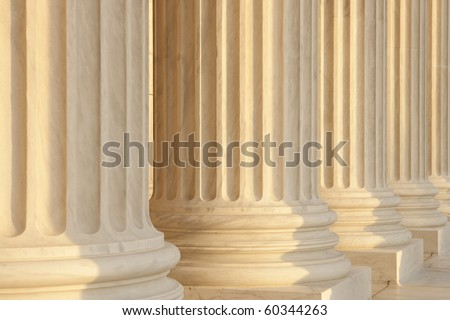 Government building marble columns detail view. US Supreme Court - stock photo