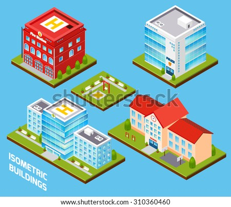 Government buildings 3d isometric set with fire station police hospital school isolated  illustration