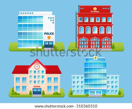 Government buildings emblems set with police office fire station school hospital isolated  illustration - stock photo