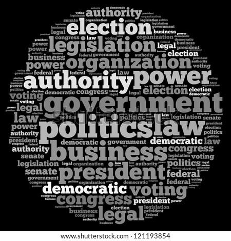 Government info-text graphics and arrangement concept on black background (word cloud) - stock photo