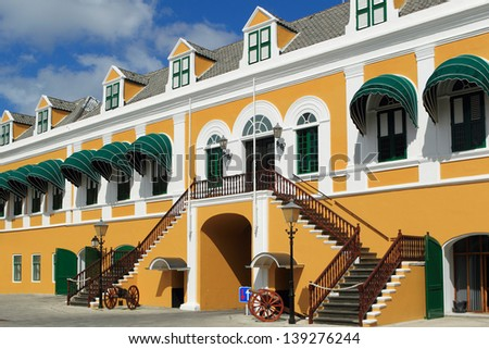 government of the Lesser Antilles building in willemstad, Curacao - stock photo