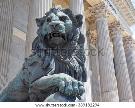government office Congress of Deputies of Spain with bronze lion sculpture Madrid Europe    - stock photo