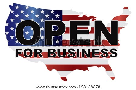 Government Shutdown Open For Business Text Outline with American USA Flag in Country Map Silhouette Raster Illustration - stock photo