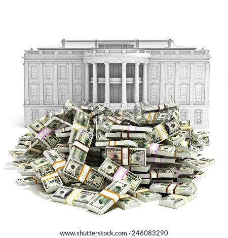 Government spending,I.R.S ,debt deficit or buying presidency concept. Large pile of money in front of the White house. - stock photo