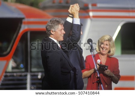 Governor Bill Clinton and Senator Al Gore at a Ohio campaign rally in 1992 on his final day of campaigning, Cleveland, Ohio