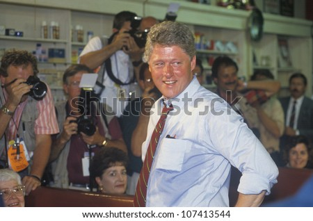 Governor Bill Clinton meets town's people at Dee's Restaurant during the Clinton/Gore 1992 Buscapade campaign tour in Corsicana, Texas - stock photo