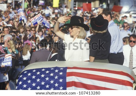 Governor Bill Clinton, Senator Al Gore, Hillary Clinton and Tipper Gore at the County Court House during the 1992 Buscapade campaign tour in Athens, Texas - stock photo