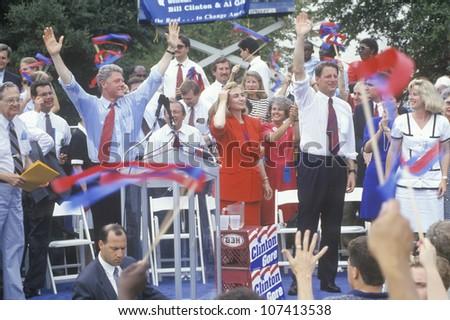 Governor Bill Clinton, Senator Al Gore, Hillary Clinton and Tipper Gore during the Clinton/Gore 1992 Buscapade campaign tour in Austin, Texas - stock photo