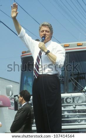 Governor Bill Clinton speaks in Ohio during the Clinton/Gore 1992 Buscapade campaign tour in Parma, Ohio - stock photo