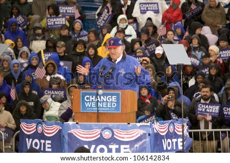 Governor Ed Rendell speaking for US Senator Barack Obama's Presidential Rally on October 28, 2008, at Widener University in Chester, PA - stock photo