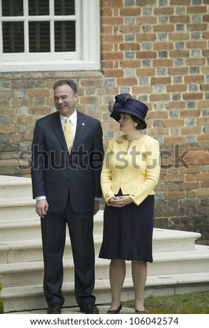 Governor Timothy Kaine and his wife Anne Holton awaiting arrival of Queen Elizabeth II in Williamsburg Virginia on May 4, 2007. - stock photo