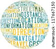 GPS and navigation info-text graphics and arrangement concept on white background (word cloud) - stock vector