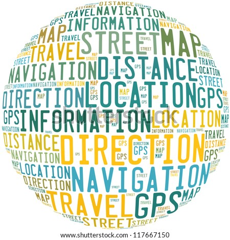 GPS and navigation info-text graphics and arrangement concept on white background (word cloud) - stock photo