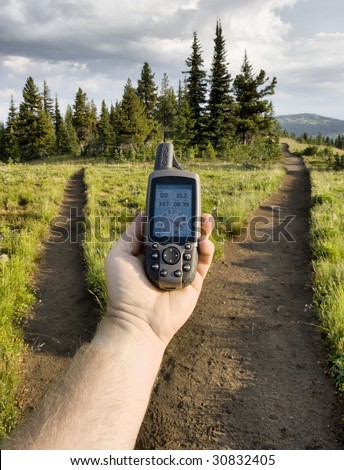 GPS at trail fork