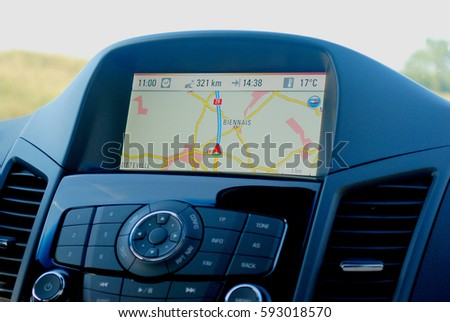 GPS, device in car help driver to find the way with easy auto function